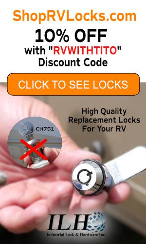 Visit ShopRVLocks.com for 10% OFF with RVWITHTITO discount code